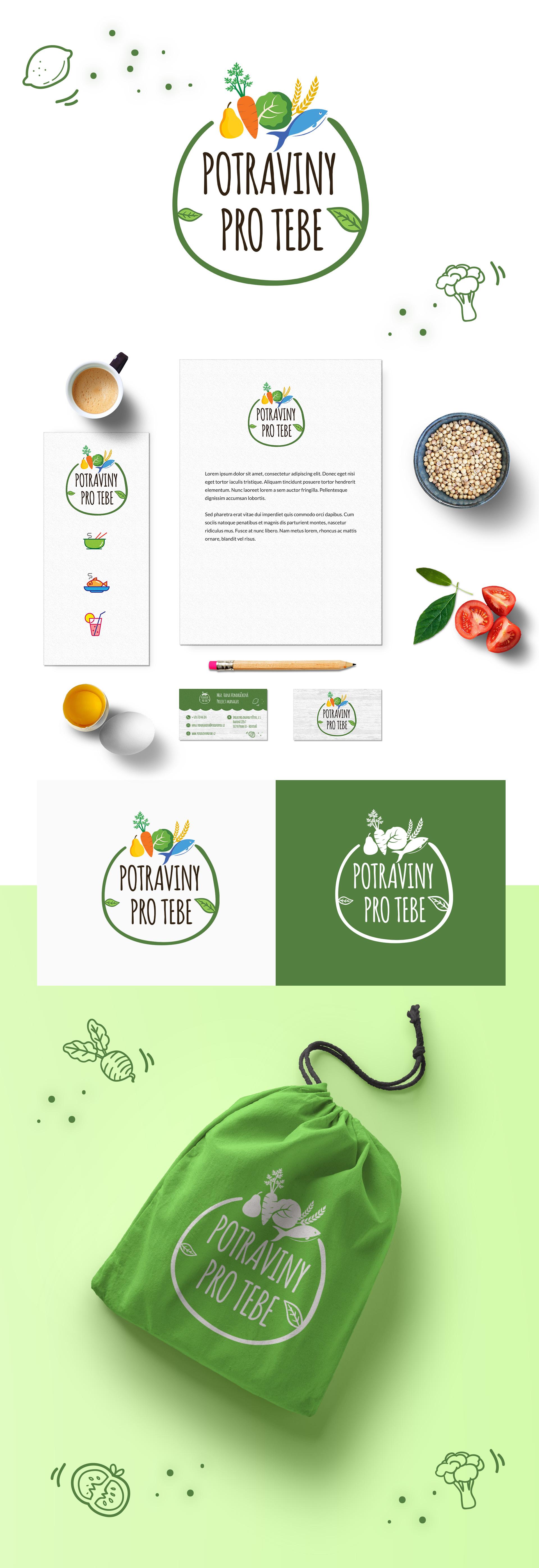 Logo a firemní identita - Potraviny pro tebe | VV grafické studio